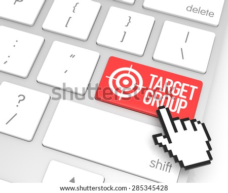Target group enter key with hand cursor. 3D rendering - stock photo