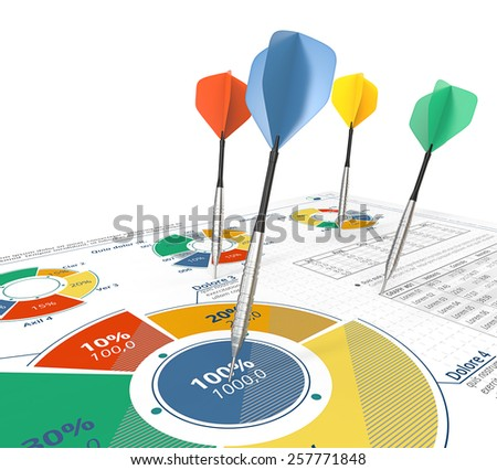 Target Groups. Colorful Darts on infographics document with pie charts.  - stock photo