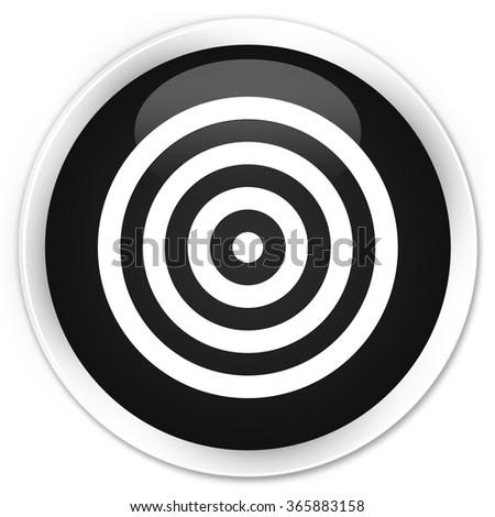 Target icon black glossy round button - stock photo