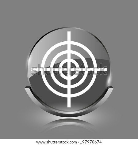 Target icon. Shiny glossy internet button on grey background.