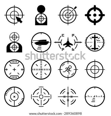 Target icons set. Arrow and center, aim and game, success goal, dartboard and strategy