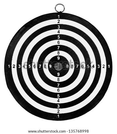 target isolated on white background, dartboard close up - stock photo