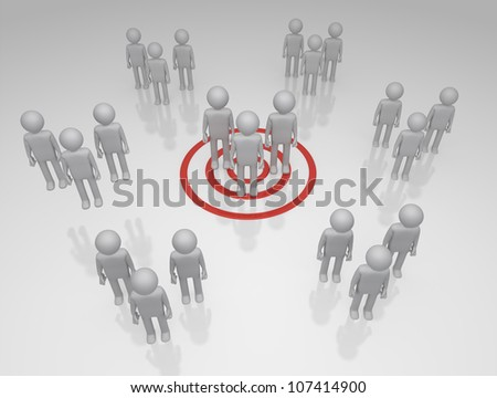 Target Market Bulls eye on a group of 3D rendered group of characters - stock photo