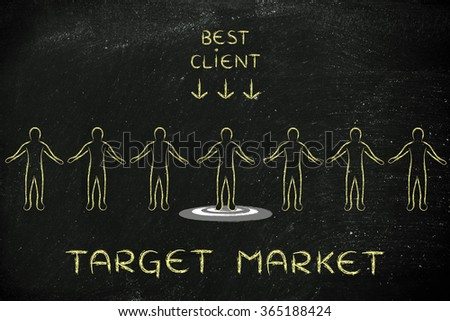 target market: person in a crowd with sign Best Client and standing on target