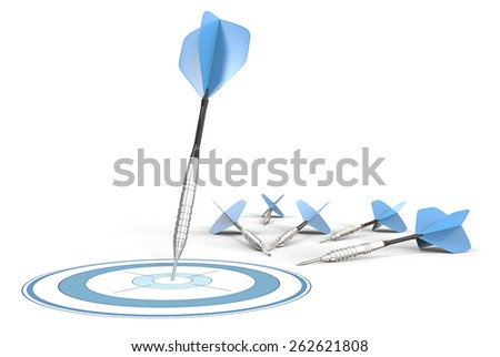 Target Marketing. Blue darts. One hitting target. Rest laying on ground.