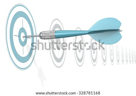 Target Marketing. Dart Arrow hitting center of blue target. Horizontal row of gray targets. - stock photo