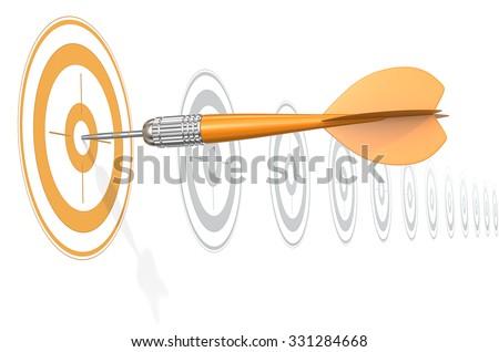 Target Marketing. Dart Arrow hitting center of Orange target. Horizontal row of gray targets. - stock photo