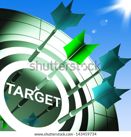 Target On Dartboard Showing Successful Shooting Or Archery - stock photo