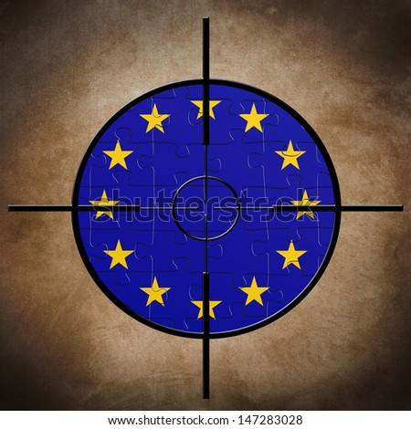 Target on EU puzzle  flag - stock photo
