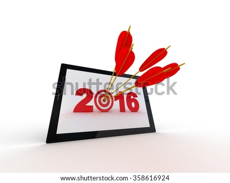Target 2016 on tablet computer screen - stock photo