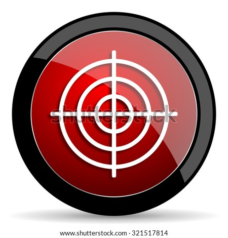 target red circle glossy web icon on white background, round button for internet and mobile app - stock photo