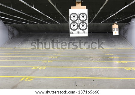Target rows at a shooting range - stock photo