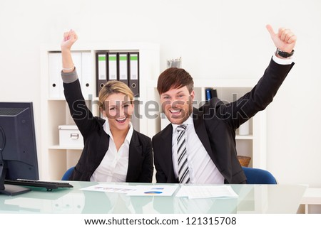 Target sales reached so executives very happy about it. - stock photo