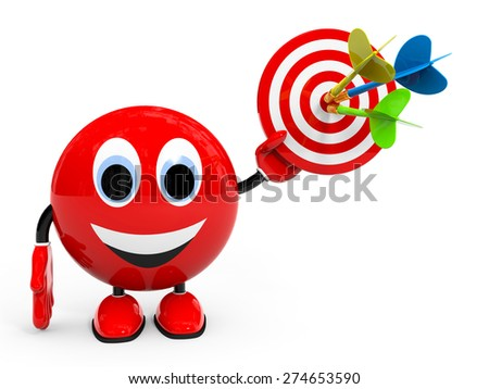 Target. Success concept. Illustration with 3d character. - stock photo