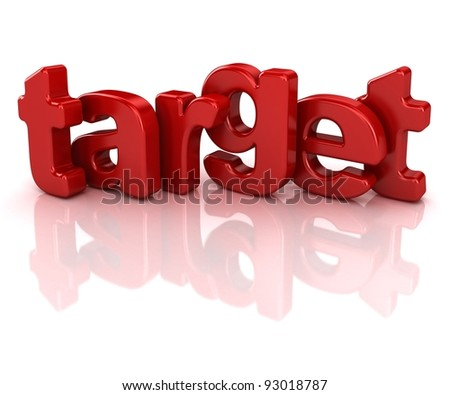 target text 3d isolated over white background