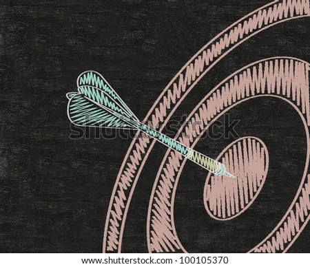 Target with arrow, dart written on blackboard background high resolution - stock photo