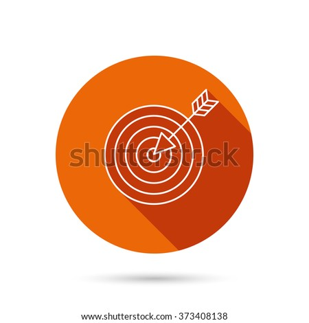 Target with arrow icon. Dart aim sign. Round orange web button with shadow. - stock photo
