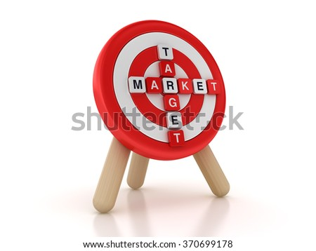 Target with Market Crossword  - High Quality 3D Rendering - stock photo