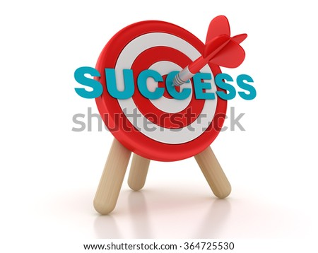 Target with Success Word - High Quality 3D Rendering - stock photo