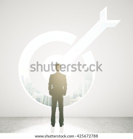 Targeting concept with businessman looking through opening in concrete wall. 3D Rendering - stock photo