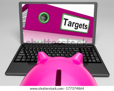 Targets Laptop Meaning Aims Objectives And Goal setting - stock photo