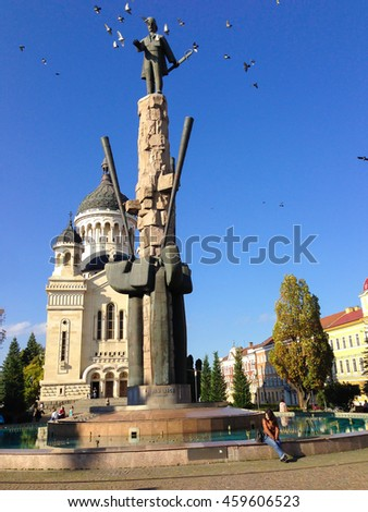 TARGU MURES - OCTOBER 15, 2014 : The main square and the cathedral of Targu Mures