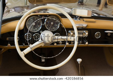 TARGU MURES ROMANIA 13 May 2016 Interior And Steering Wheel Of A 1972 Mercedes