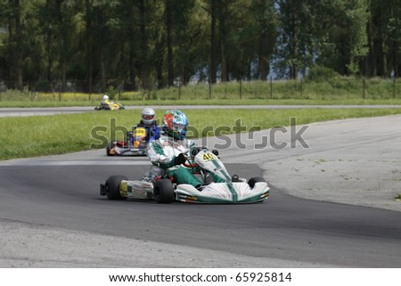 TARGU SECUIESC, ROMANIA - JUNE 20 : Salvatore Arcarese competes in National Karting Championship, round 3, JUNE 20, 2010 in Targu Secuiesc, Romania.