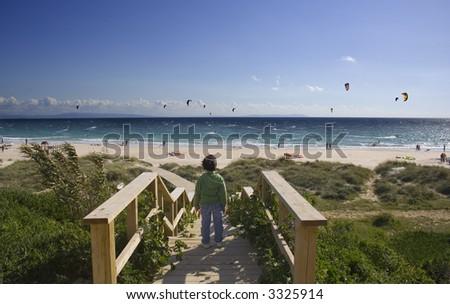 Tarifa beach,Spain - stock photo