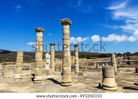 TARIFA, SPAIN - SEPTEMBER 25, 2016:  Ruins of Baelo Claudia is an ancient Roman town situated on the Costa de la Luz, some 15km north of Tarifa.
