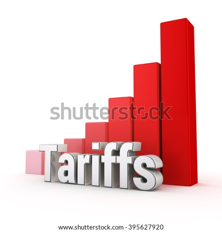 Tariffs level too high. Word Tariffs against the red rising graph. 3D illustration graphics