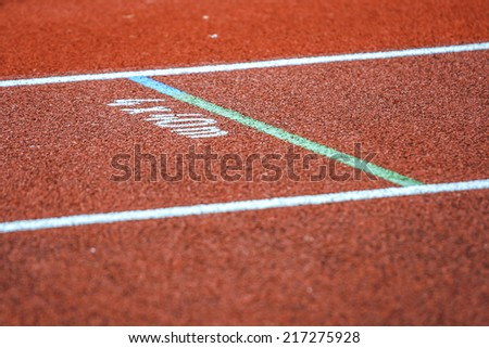 Tarmac track at athletics arena for repeats - stock photo