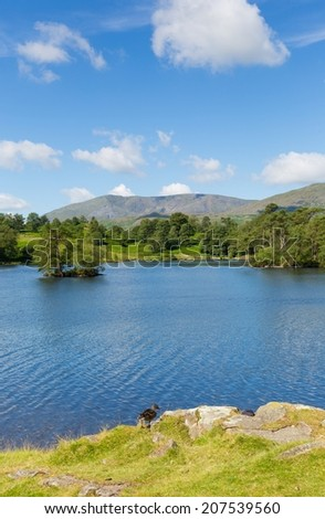 Tarn Hows Lake District National Park England uk one of the top scenic destinations in the North West of England with a beautiful walk around the lake  - stock photo