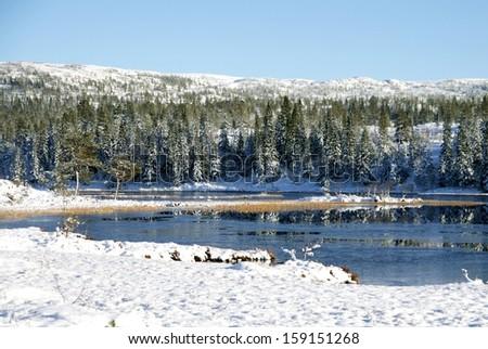 Tarn in winter - stock photo