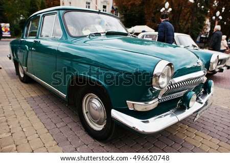 Tarnopol, Ukraine - October 09, 2016: Classic retro car green GAZ-21, third series of Volga, nickname Baleen, models from 1962-1970