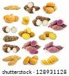 taro roots , sweet potatoes , Potato chips on white background - stock photo
