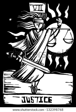 Tarot Card Major Arcana image of Justice - stock photo