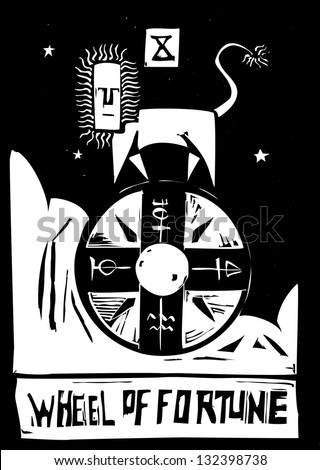 Tarot Card Major Arcana image of the Wheel - stock photo