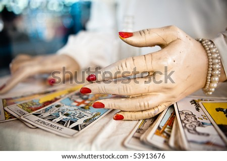 Tarot card prediction - stock photo