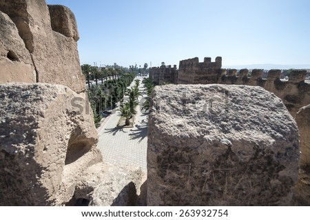 TAROUDANT, MOROCCO, MARCH 5, 2014. The ancient city walls in Taroudant, Morocco, on March 5th, 2014.
