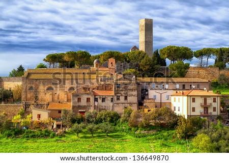 Tarquinia, little italian town by Rome - stock photo