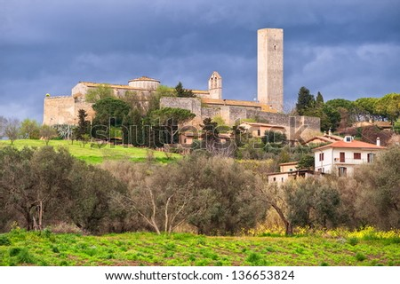 Tarquinia, old etrruscan town by Rome, Italy - stock photo
