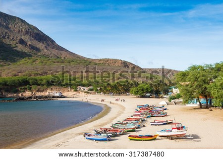Tarrafal beach in Santiago island in Cape Verde - Cabo Verde - stock photo