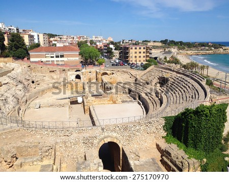 Tarragona, Spain - April 28, 2015: The Historical amphitheater of Tarragona city, Catalonia, Spain  - stock photo