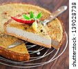 Tart with chicken liver and pepper, selective focus - stock photo