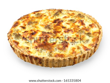 tart with salmon and broccoli isolated on white