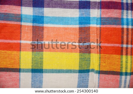 Tartan Cloth Fabric or Plaid Check Fabric loincloth Thai Style is commonly called pah-kah-mah  - stock photo