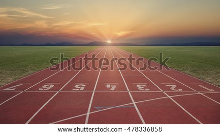 Tartan track at sunrise in a beautiful landscape