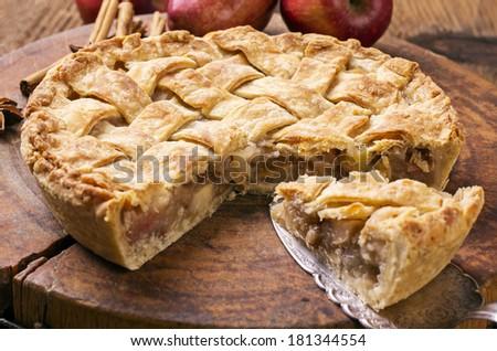tarte aux pommes - stock photo
