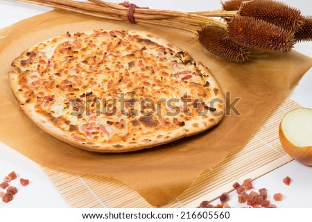 tarte flambee french tarte flambee with onion and ham